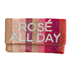 Rosé All Day Beaded Clutch
