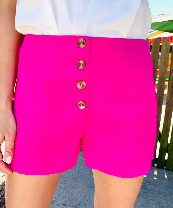 Hot Pink Button Short