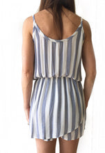 MR Blue Striped Surplice Romper
