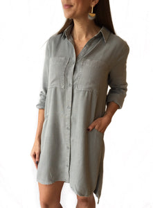 Button Down Collared L/S Dress