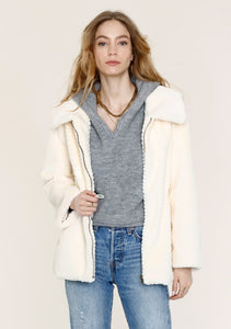 Ivory Cozy Faux Fur Zip Jacket