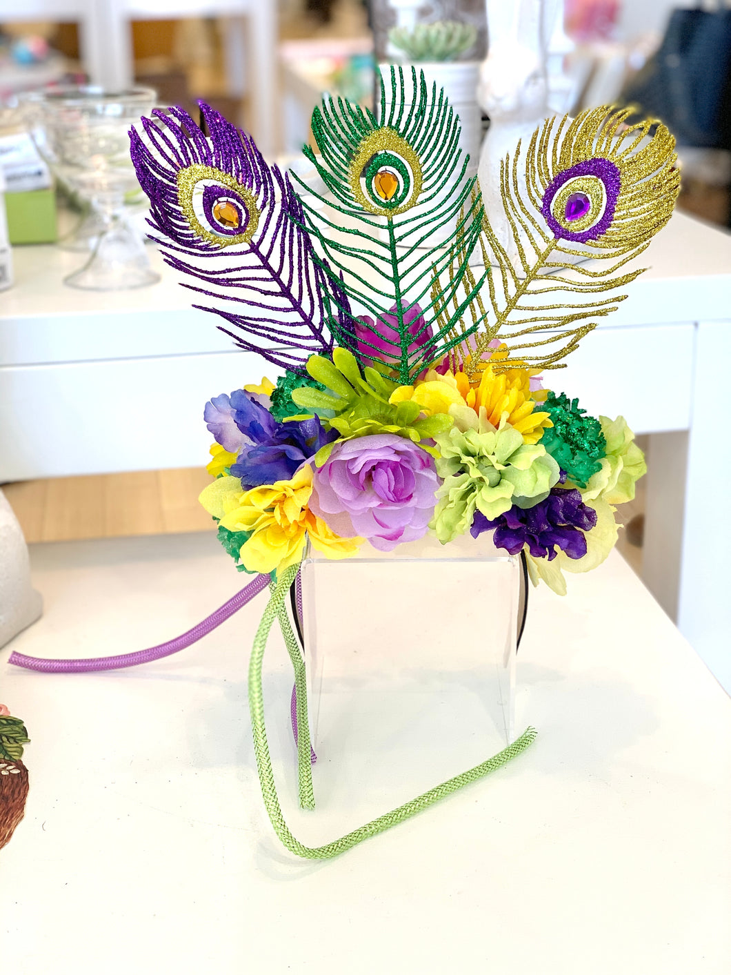 Mardi Gras Headpiece w/ Feathers