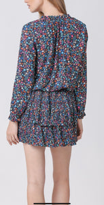 Multi Star Pleated Mini Dress
