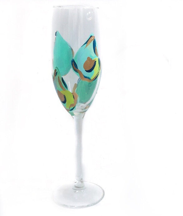 Multi Shell Oyster Blues Champagne Flute