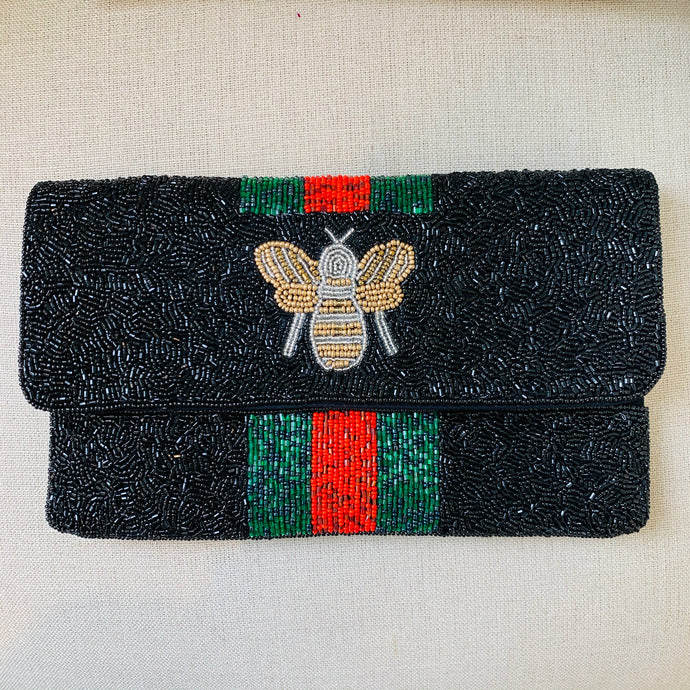 Red/Black Bee Beaded Clutch