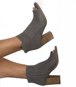 Grey Open Toe Flap Block Wedge