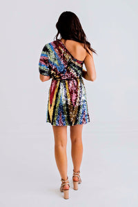 Multi Sequin One Shldr Dress