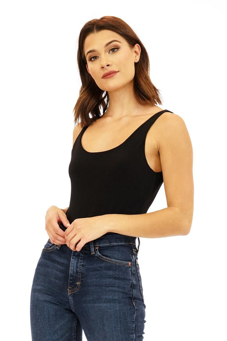 Black Scoop Tank Bodysuit