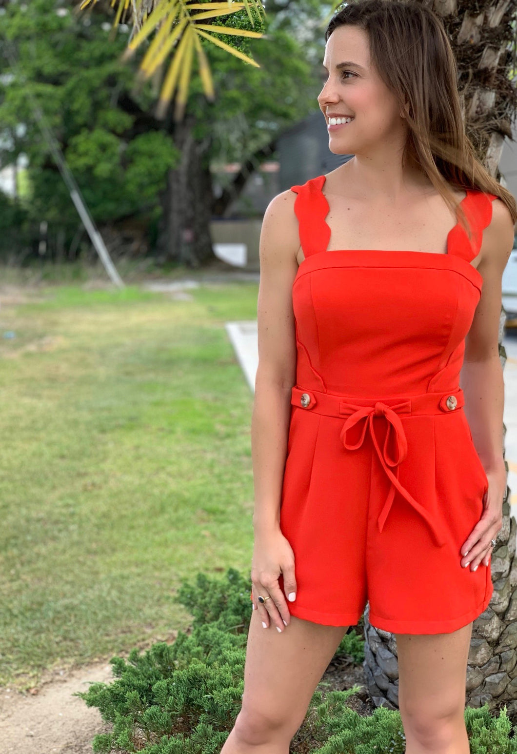 Poppy Scallop Romper
