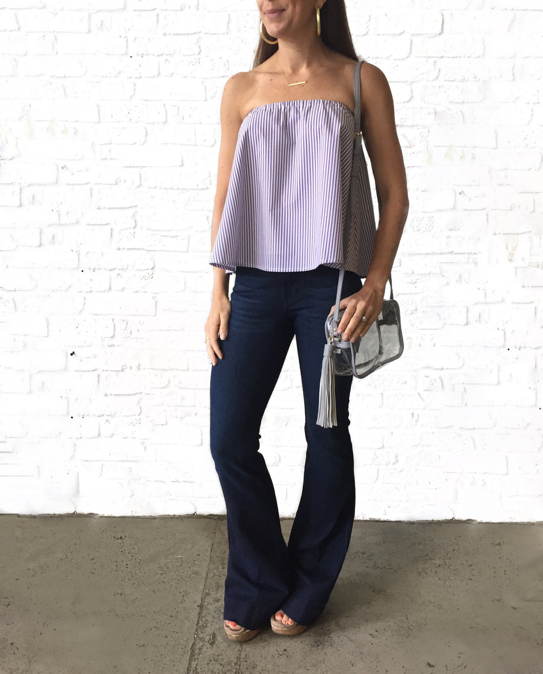 Purple Strapless Stripe Top