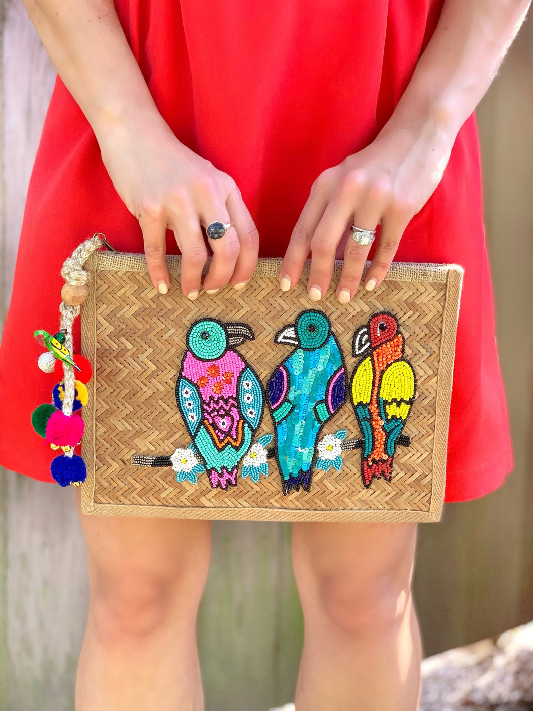 Three Birds Raffia Clutch