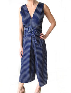 Pinstripe Belted Jumpsuit