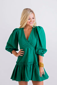 Green Wrap Puff Slv Dress
