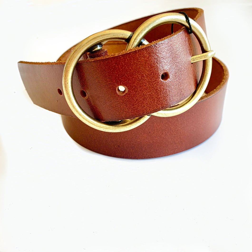 Tan Thick Double Buckle Belt