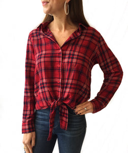 Red Plaid Button Down Tie Top