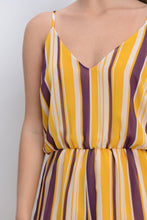 Must/Plum/Wht Stripe V-Neck Romper