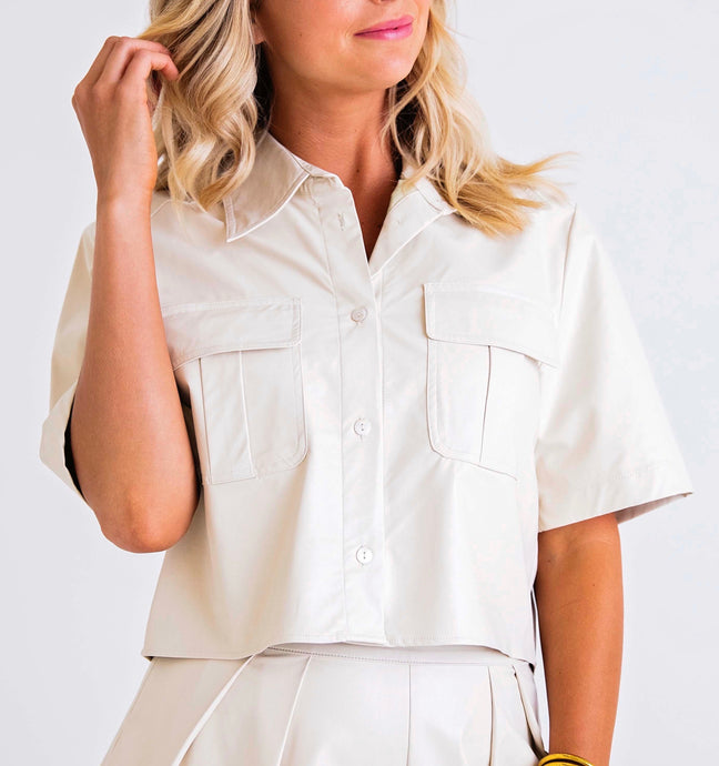 Cream Pleather Pocket Shirt