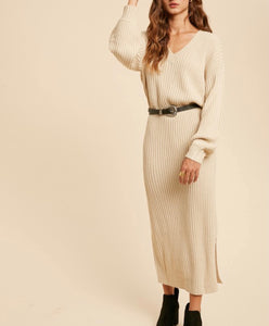 Ribbed Vneck Sweater Dress