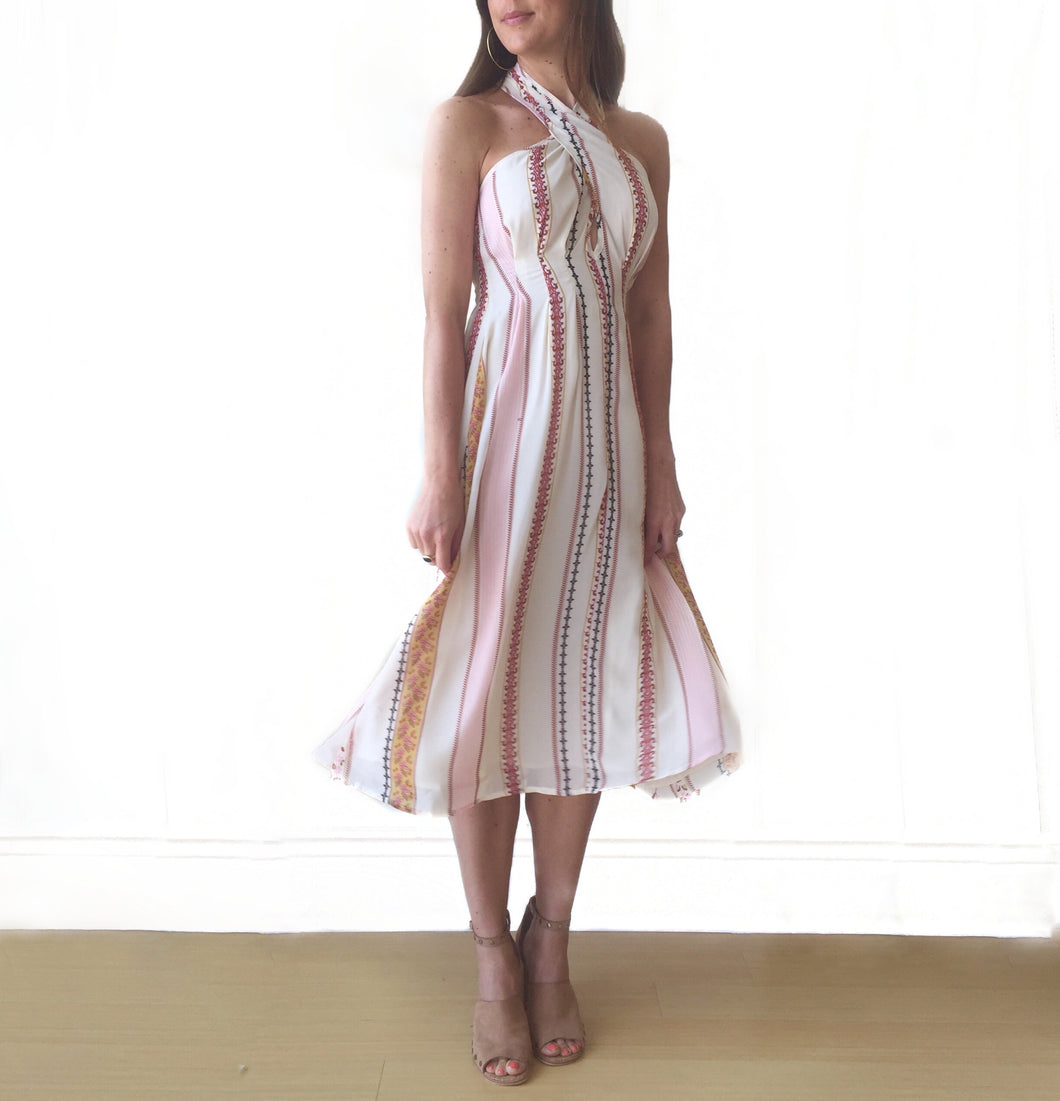 Cream Floral Stripe Dress