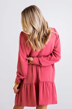 Berry Solid Neck Ruffle Tier Dress