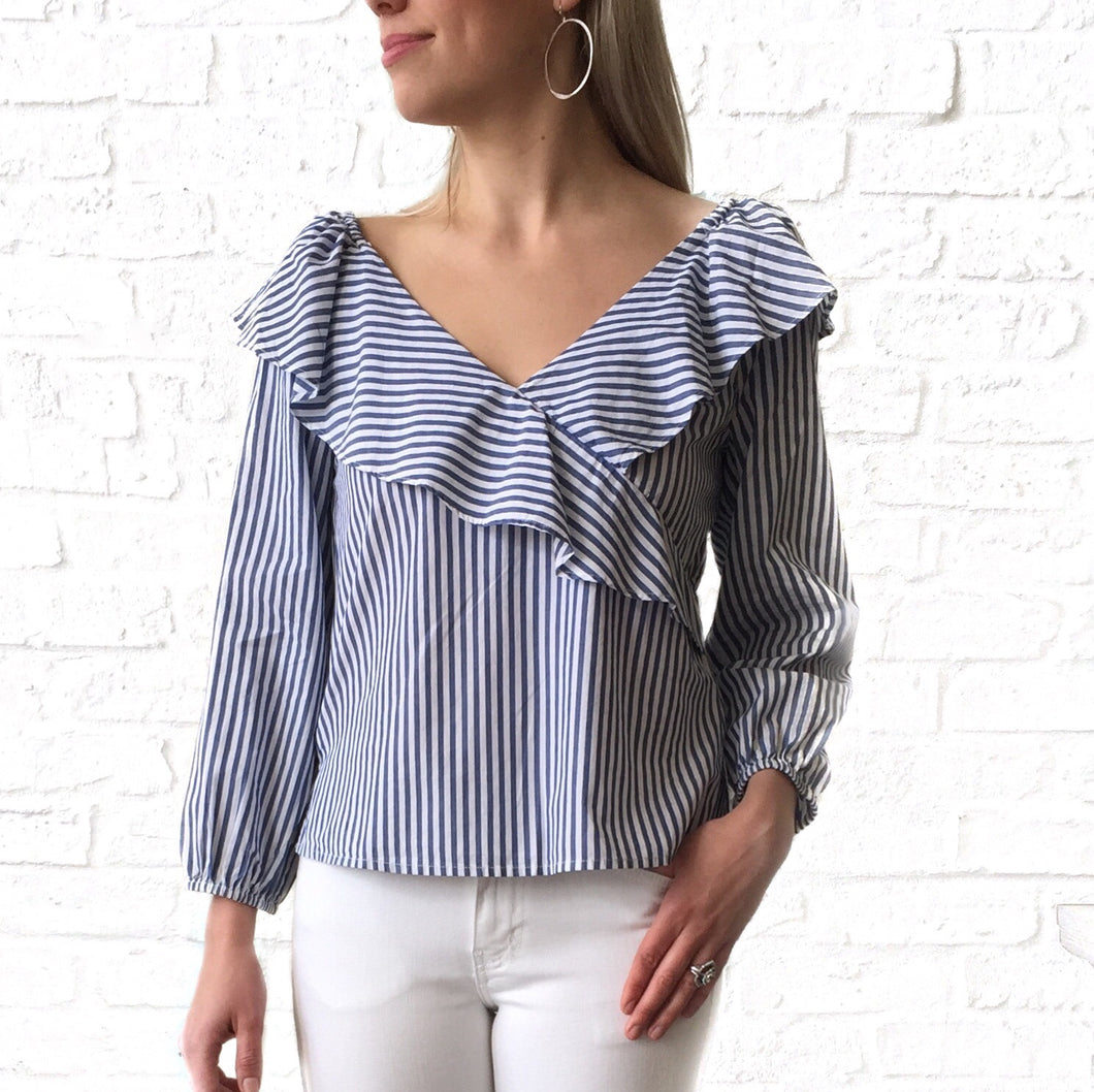 MR V Blue Stripe Blouse