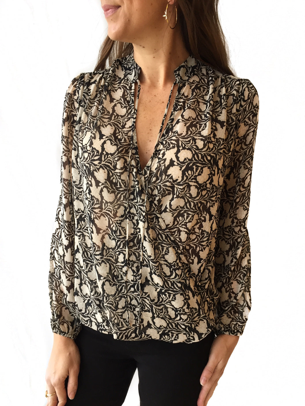 Cream/Black Floral Tie Neck Top