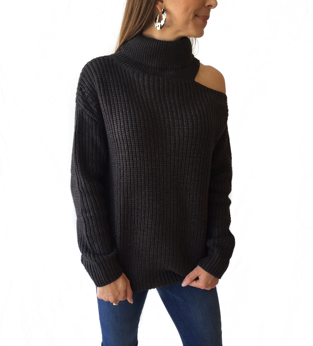 Charcoal Sweater w/ Shldr Cutout