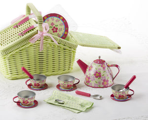 Picnic Basket w/ Floral Tin Tea Set