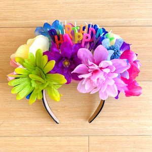 Happy Birthday Multi Floral Headpiece