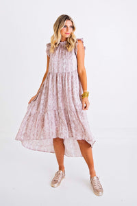 Snake Ruffle Hi Lo Dress