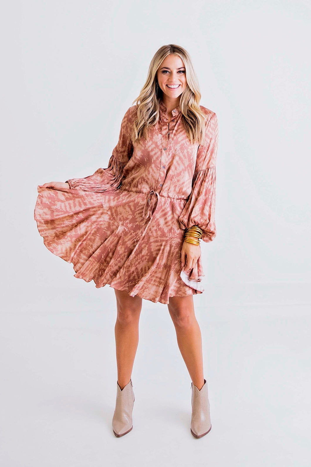 Mauve Tie Dye Button Tie Dress