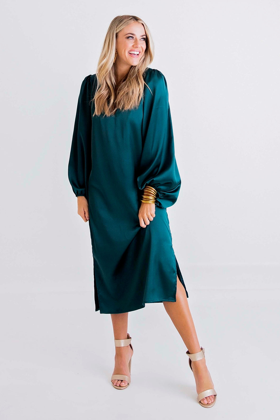 Forest Vneck Midi Dress