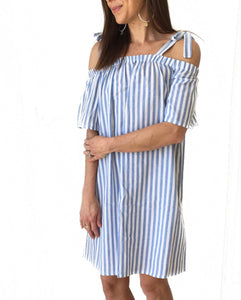 GD-Blue/White Stripe Tie Dress