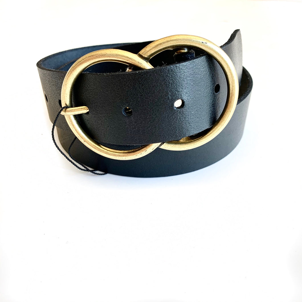 Black Thick Double Buckle Belt