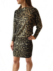 Blk/Gold Dolman Top Fitted Dress