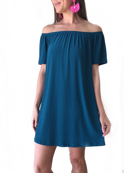 GD Teal Off Shldr Dress