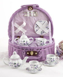 Basket w/ Violet Porcelain Tea Set