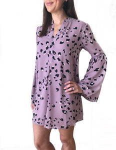 L/S Purple Leopard Dress