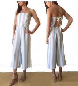 MR-Strapless Stripe Midi Jumpsuit W/ Tie Back