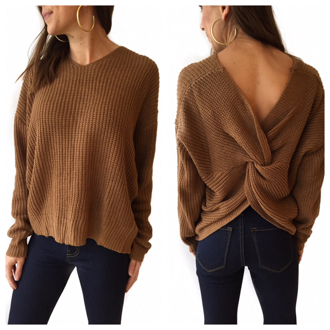 Camel Knot Back Pullover Swtr