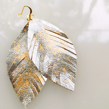 Short Metallic Feather Earrings