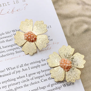 Peach Dahlia Earrings