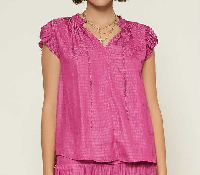 Pleated Slv Blouse Rasp Pink
