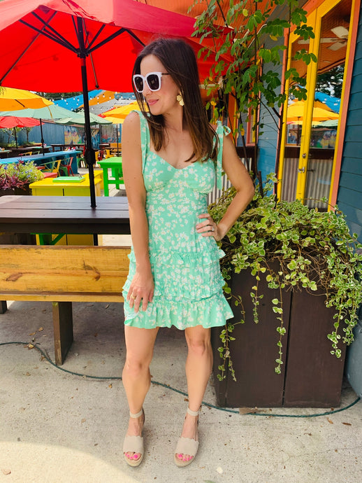 Lime Floral Cami Mini Dress
