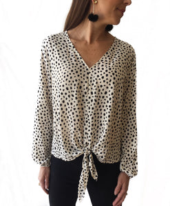 GD Cream/Blk Dot L/S Tie Top