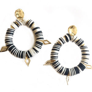 Black&White Disc Bead Hoops