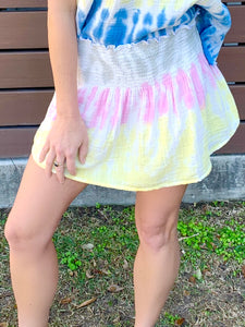 Tie dye Cotton Mini Skirt