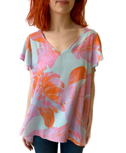 Avril Blue/Orange Palm Blouse