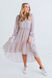 Snake Chiffon Tier Hi/Lo Dress