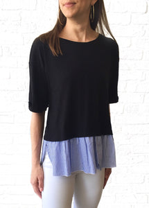 Blk Mixed Tee w/ Ruffle Stripe Hem